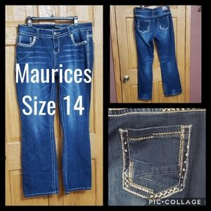 Maurices Jeans Size 14 Bling Rhinestones Sequins